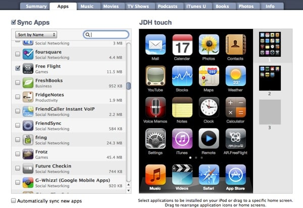 iTunes prompts to remove apps from iPod