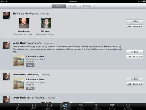 Apple adds Ping functionality to iPad