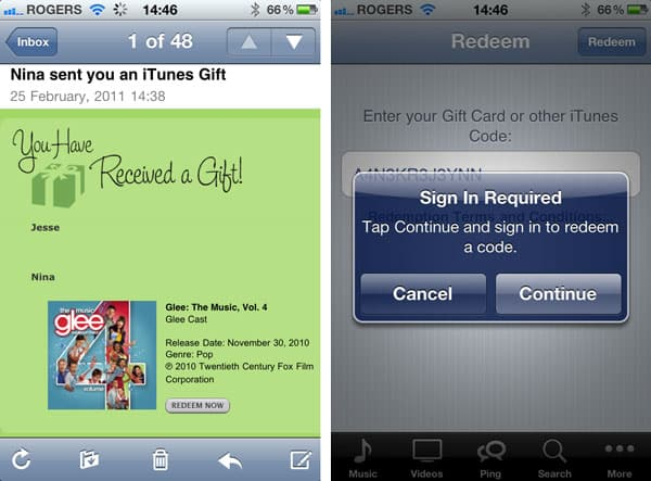 Redeeming iTunes Gifts on iOS