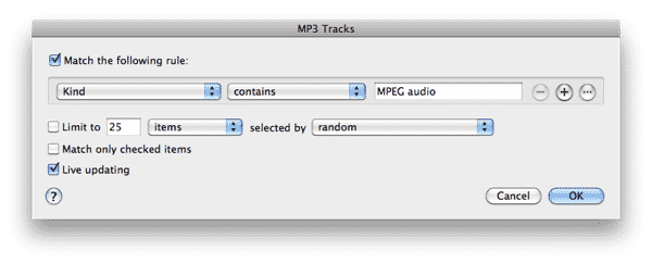 Finding MP3 tracks in iTunes