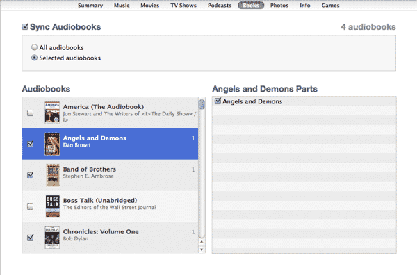 Transferring audiobooks to iPod