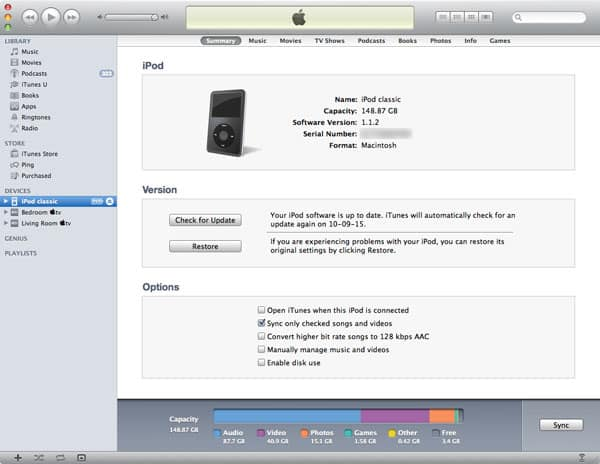 User ID requirements for old iPod classic