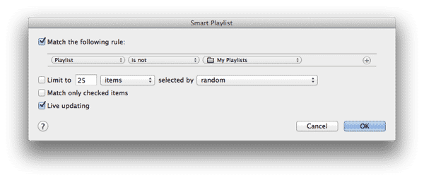 Identify tracks not in any playlists