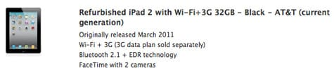 Refurbished iPad 2 units now available from Apple
