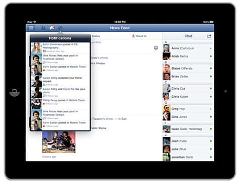 Facebook update adds iPad support