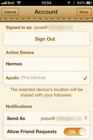 Find My Friends always reports home location