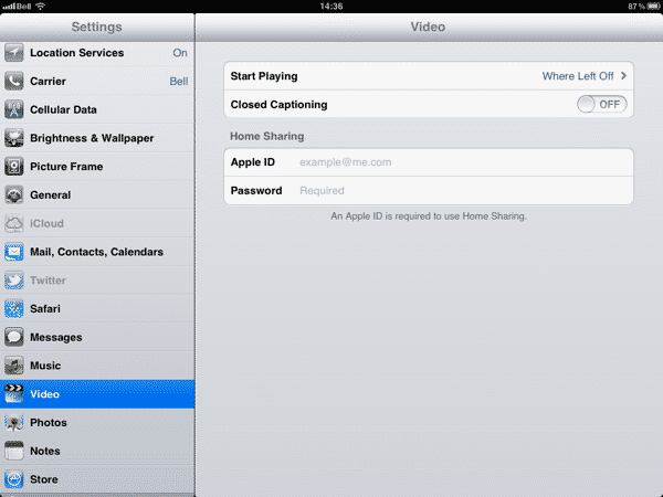 Streaming Videos to an iPad using Home Sharing