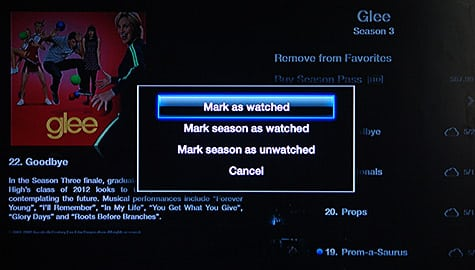 Marking media watched or unwatched from Apple TV