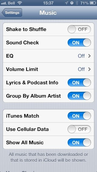 iTunes Match and streaming in iOS 6