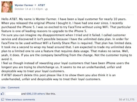 Viral Facebook post on AT&T FaceTime limit hits 690k likes