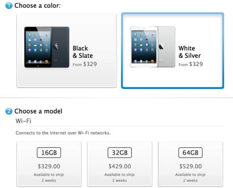 iPad mini: White Wi-Fi sold out, cellular coming Nov. 21?