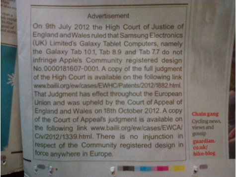 Apple's print apology ad to Samsung appears