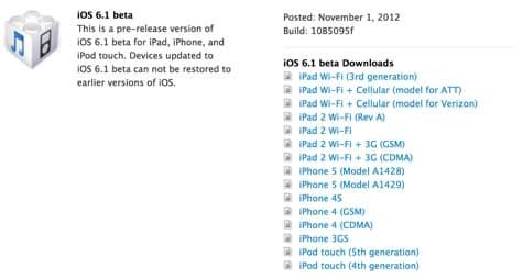 iOS 6.1 beta released to developers