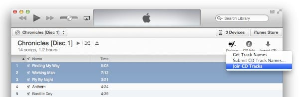 Join CD Tracks option not appearing in iTunes 11