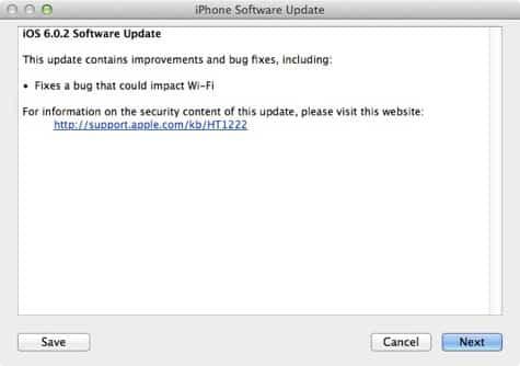 Apple releases iOS 6.0.2 update