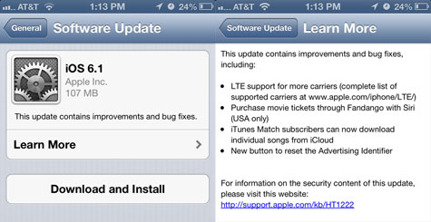 iOS 6.1 out, adds LTE carriers, Siri-Fandango, more