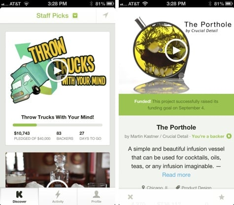 Apps: Kickstarter, Kindle 3.6, Real Racing 3 + Slacker 4.0