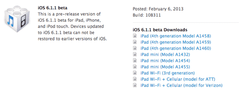 iOS 6.1.1 beta released to developers
