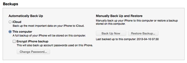 Backing up iPhones for other family members