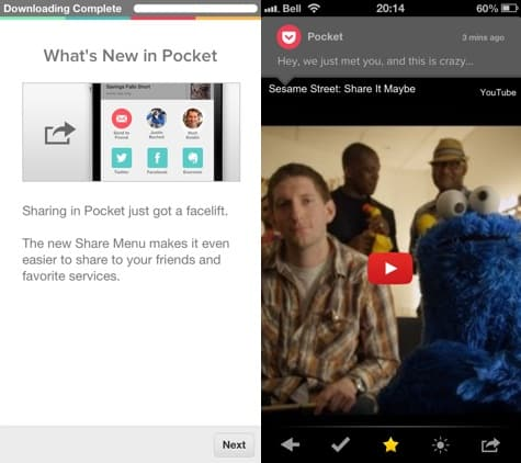 Apps: Pocket 4.5, TWC TV 3.2, Twitter #music + Yahoo Weather