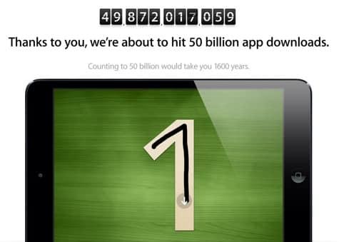 Apple's 50 billion app download countdown nears end
