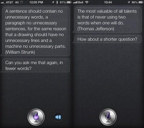 Siri now quotes Strunk, Jefferson, chiding users' speech