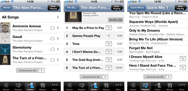 Listening to iTunes Match tracks on an airplane