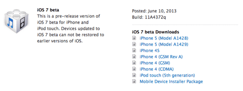 iOS 7 beta 1 now available to developers