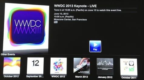 Apple streaming WWDC keynote via web, Apple TV