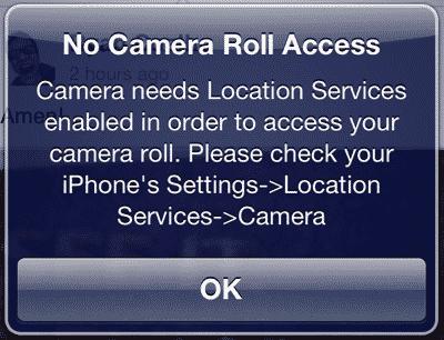 iOS Camera app and Location Services