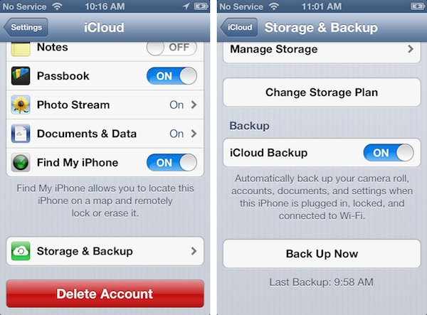 Accessing an older iCloud backup