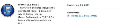 Apple releases iTunes 11 developer beta with iTunes Radio