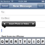 Quickly adding photos while composing an e-mail