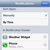 Setting the order of items in the iOS Notification Center