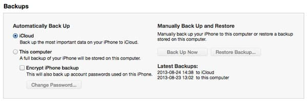 Choosing whether to restore iTunes or iCloud backup