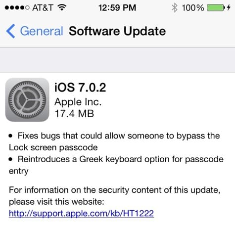 Apple releases iOS 7.0.2