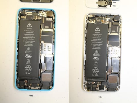 5s, 5c teardown: Compact logic boards, Touch ID cable