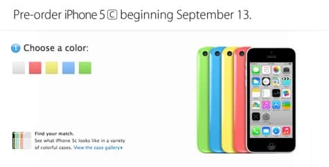 Apple sets up Sept. 13 pre-order page for 5c