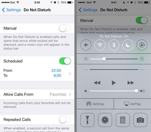 Manual vs scheduled Do Not Disturb settings