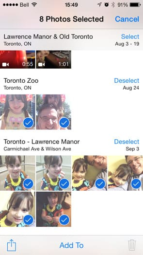 Problems deleting pictures in Photos app