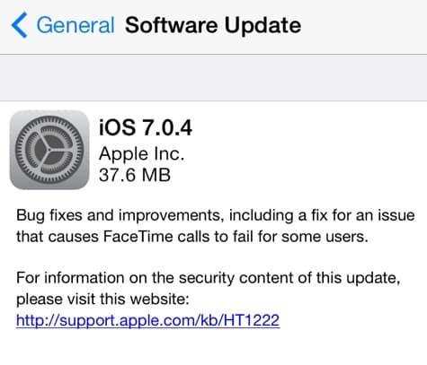 Apple releases iOS 7.0.4