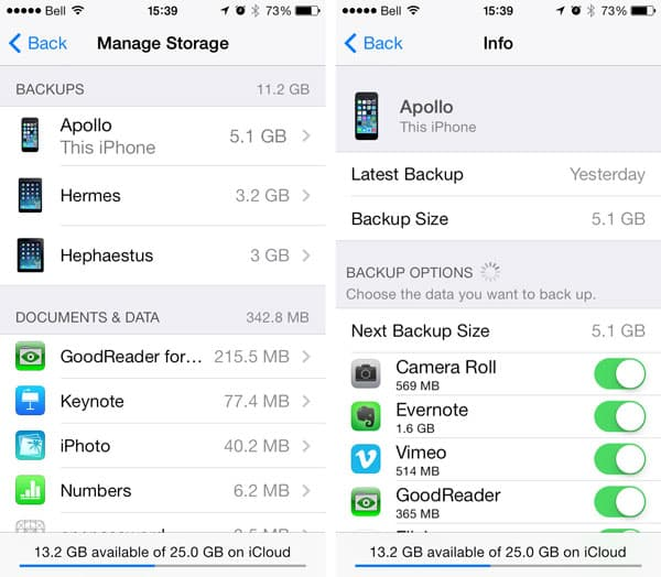 Whether to include specific apps in iCloud backups