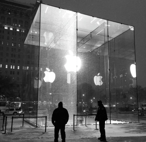 NYC Apple Store glass panel shattered by snowblower