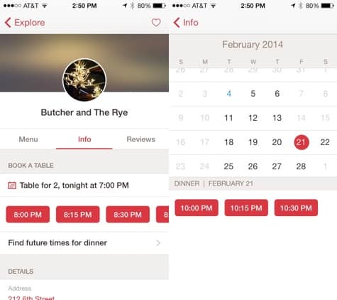 Apps: Google Maps 2.6, OpenTable 6.2, Pacemaker + Paper