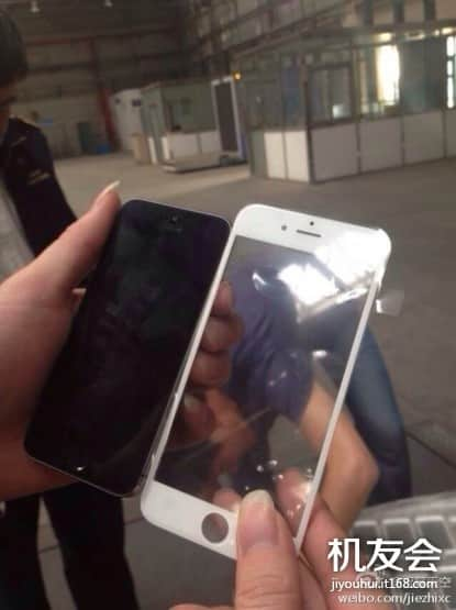 Alleged iPhone 6 front panel, batteries leaked