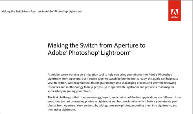 Adobe Photoshop Lightroom Migration From Aperture Guide