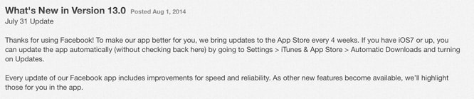 Facebook promises monthly iOS app updates