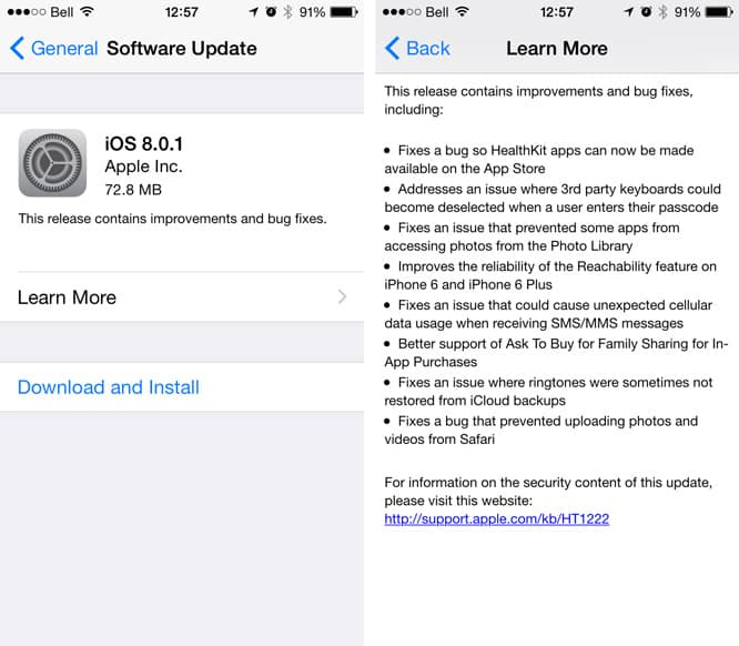 Apple releases iOS 8.0.1 (Update: with serious problems)
