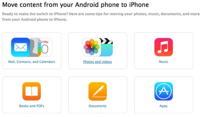 Apple posts guide for moving content from Android to iPhone