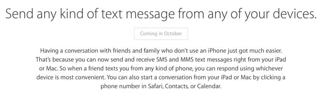 Apple delaying SMS Continuity until October?